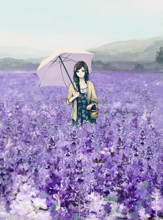 Girl With Umbrella In Lavender Field - Obrázkek zdarma pro iPhone 3G