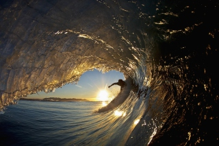 Surfer Against Big Wave Wallpaper for Android, iPhone and iPad