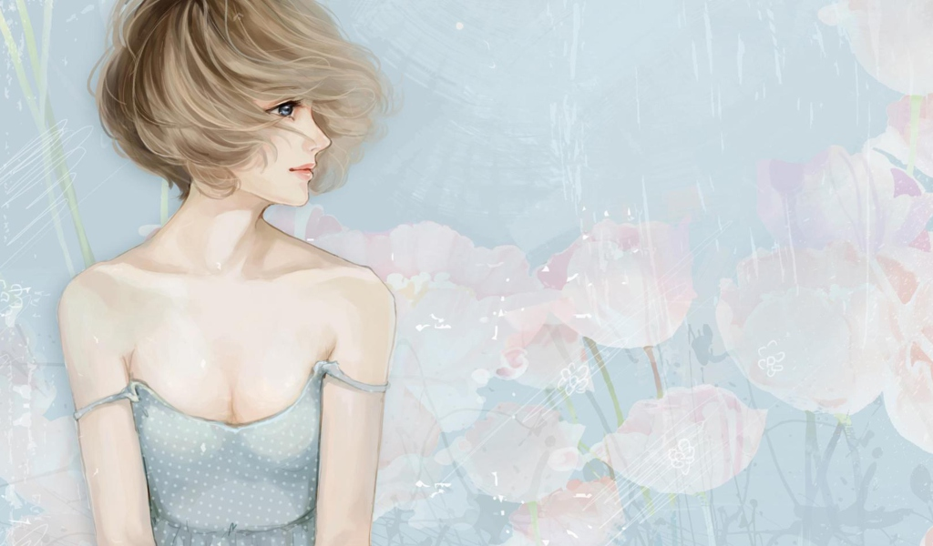 Screenshot №1 pro téma Pastel Tones Drawing Of Girl 1024x600