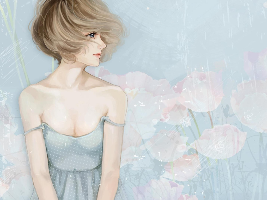 Screenshot №1 pro téma Pastel Tones Drawing Of Girl 1024x768