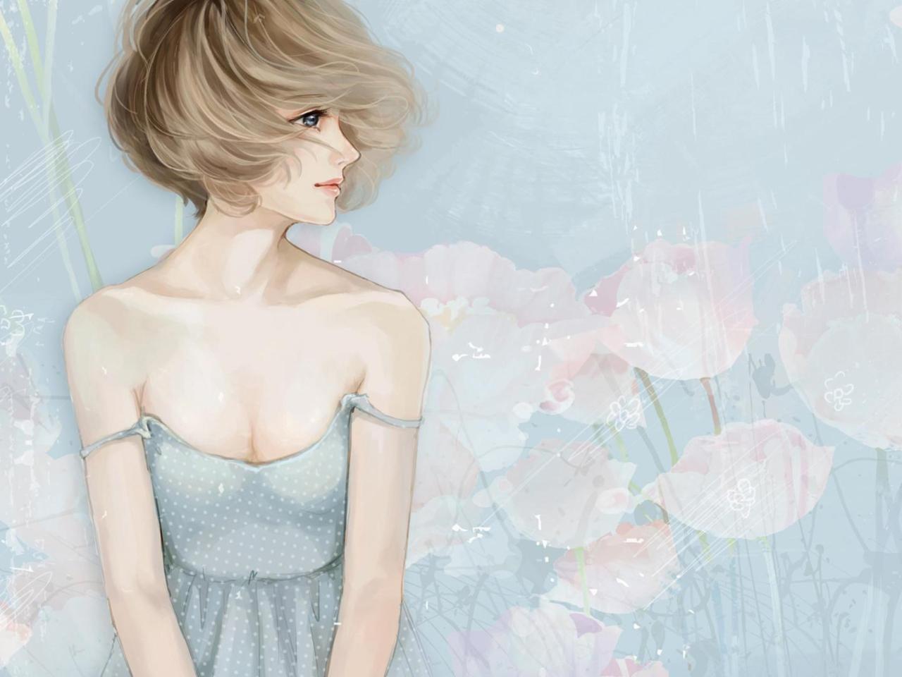 Screenshot №1 pro téma Pastel Tones Drawing Of Girl 1280x960