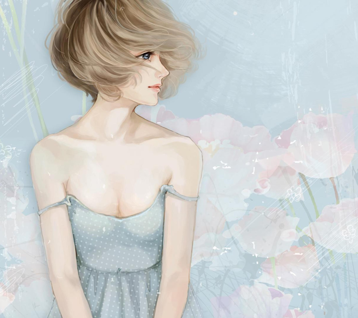 Screenshot №1 pro téma Pastel Tones Drawing Of Girl 1440x1280