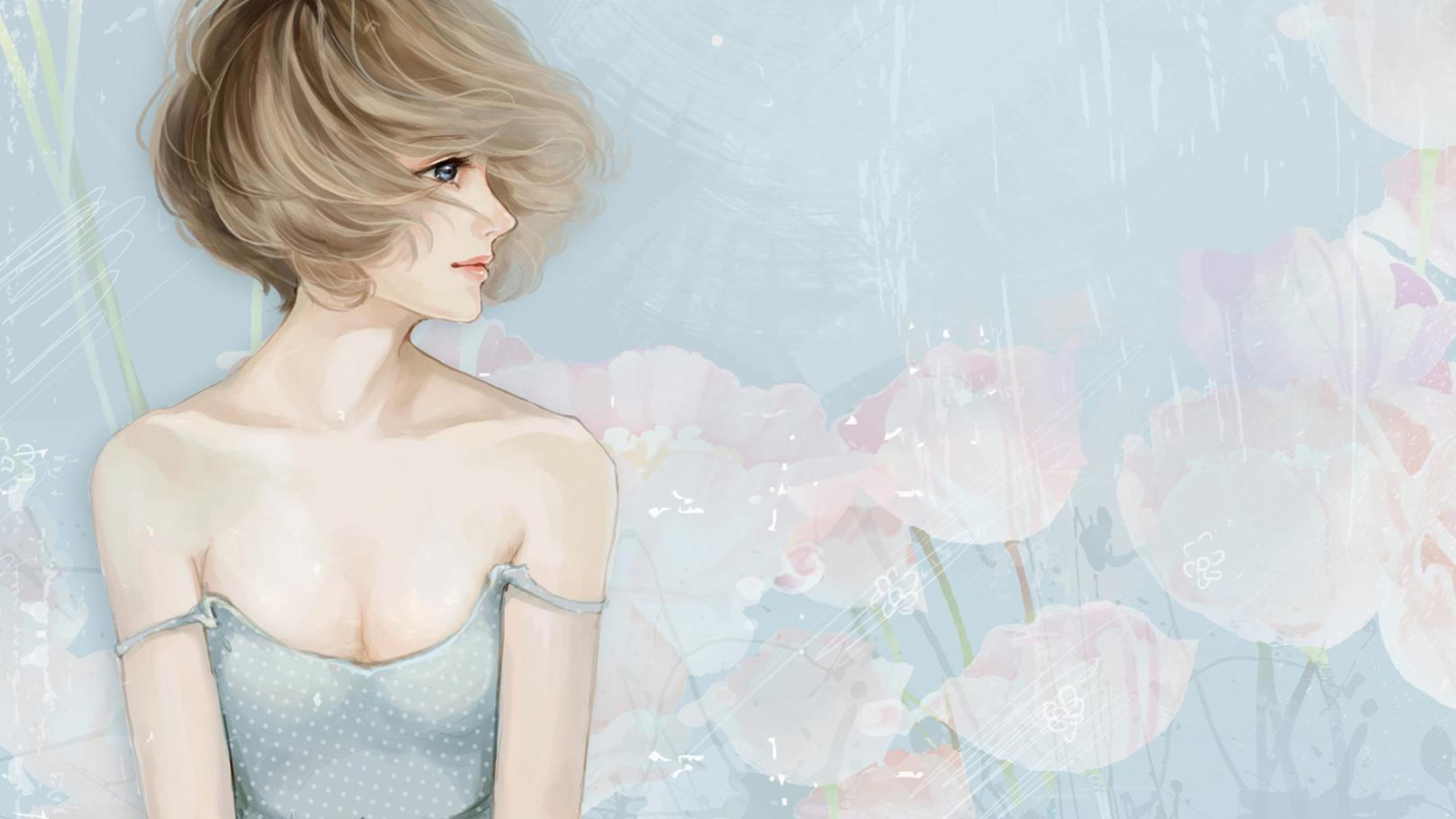 Screenshot №1 pro téma Pastel Tones Drawing Of Girl 1600x900