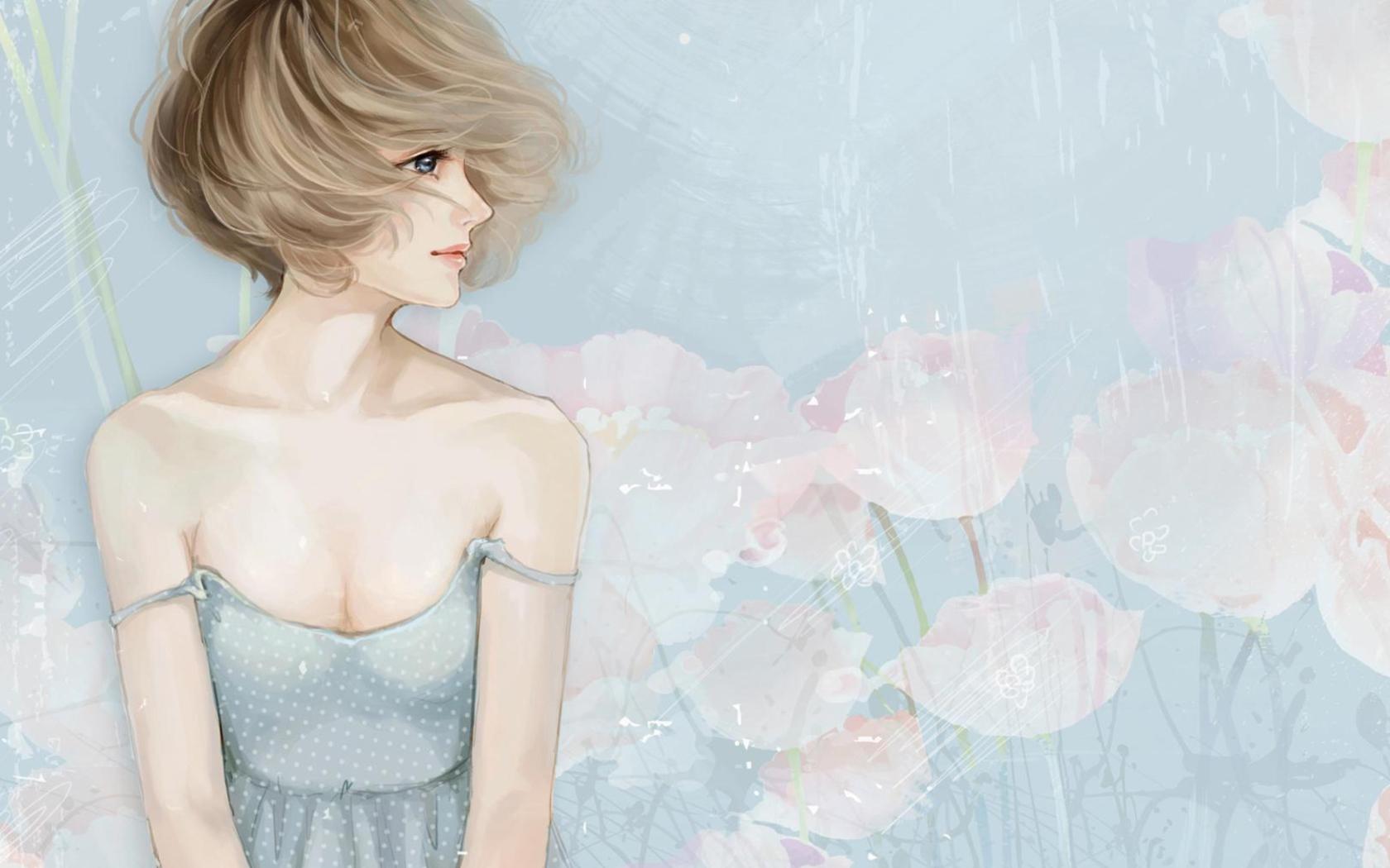 Screenshot №1 pro téma Pastel Tones Drawing Of Girl 1680x1050