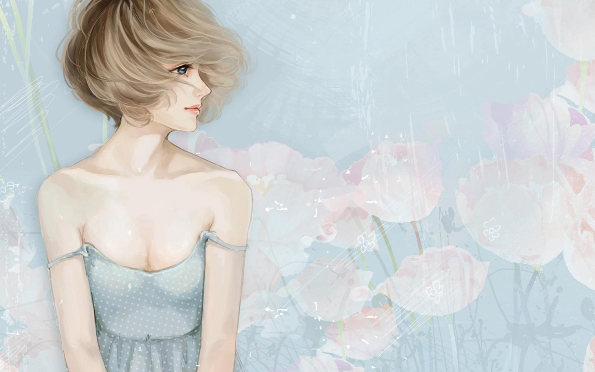 Screenshot №1 pro téma Pastel Tones Drawing Of Girl 1920x1200