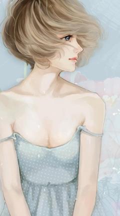 Screenshot №1 pro téma Pastel Tones Drawing Of Girl 240x432