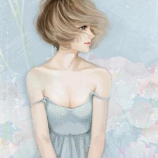 Screenshot №1 pro téma Pastel Tones Drawing Of Girl 320x320