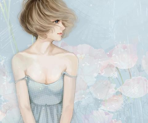 Screenshot №1 pro téma Pastel Tones Drawing Of Girl 480x400
