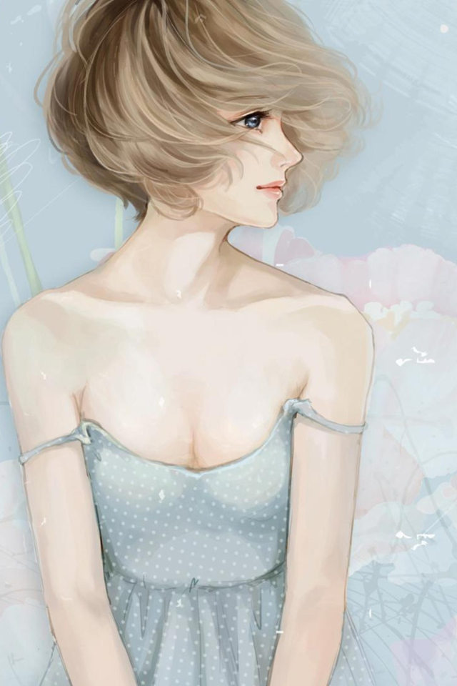 Screenshot №1 pro téma Pastel Tones Drawing Of Girl 640x960