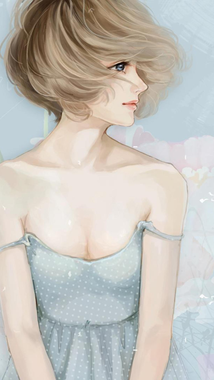 Screenshot №1 pro téma Pastel Tones Drawing Of Girl 750x1334
