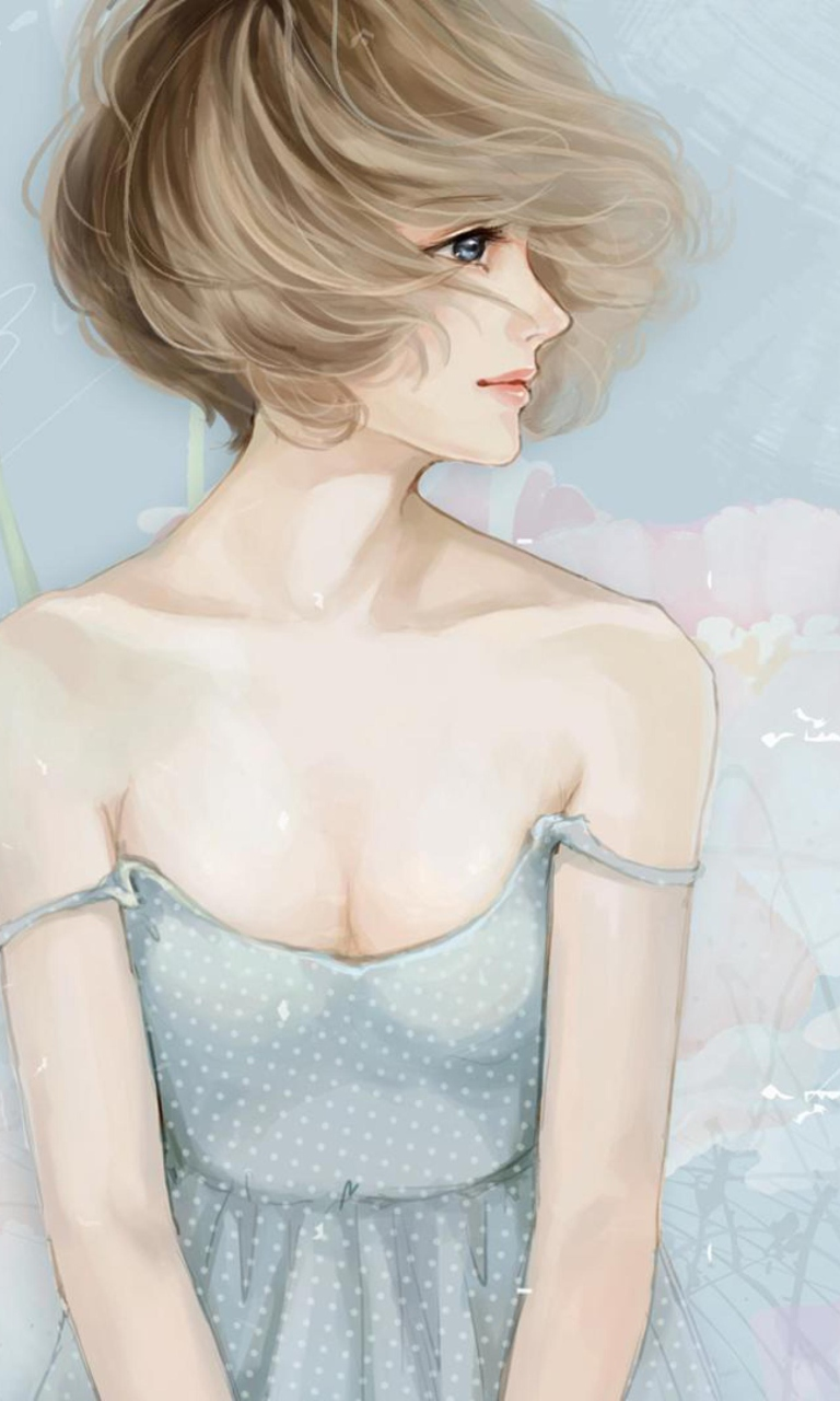 Screenshot №1 pro téma Pastel Tones Drawing Of Girl 768x1280