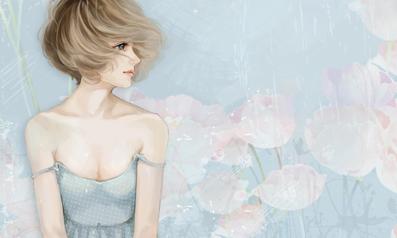 Screenshot №1 pro téma Pastel Tones Drawing Of Girl 800x480