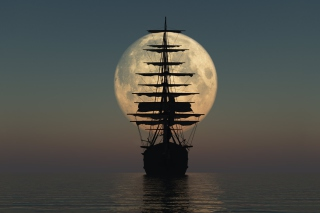 Ship Silhouette In Front Of Full Moon Wallpaper for Android, iPhone and iPad