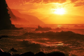 Free Ocean Waves At Sunset Picture for Android, iPhone and iPad
