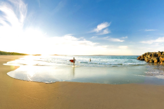New Smyrna, Florida - Surfers Beach Wallpaper for Android, iPhone and iPad