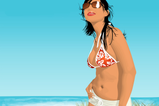 Free Girl On The Beach Picture for Android, iPhone and iPad