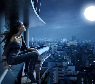 Night Walk On Roofs - Obrázkek zdarma pro iPad Air