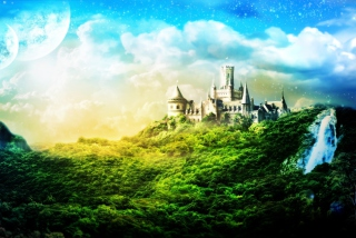 Castle In Green Background for Android, iPhone and iPad