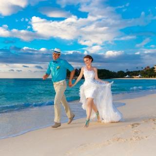 Happy newlyweds at sea - Obrázkek zdarma pro iPad 2