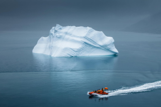 Greenland Iceberg Lifeboat Background for Android, iPhone and iPad