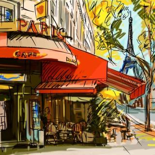Paris Street Scene - Obrázkek zdarma pro iPad 3