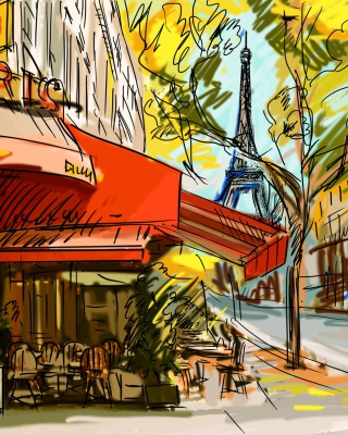Paris Street Scene - Obrázkek zdarma pro 640x960