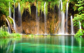 Jungle Waterfall Background for Android, iPhone and iPad