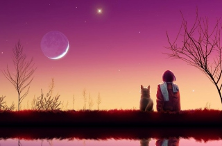 Free Girl And Cat Looking At Pink Sky Picture for Android, iPhone and iPad