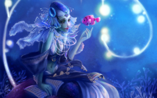 Mermaid And Pink Fish Picture for Android, iPhone and iPad