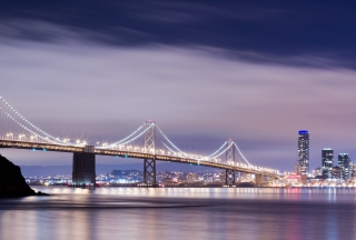 Bridge And City At Night Background for Android, iPhone and iPad