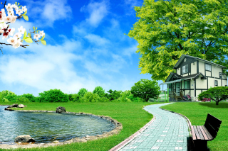 Calm Country House Background for Android, iPhone and iPad
