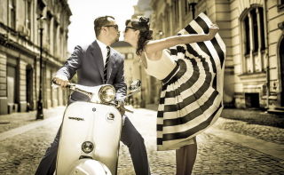 Retro Couple And Vintage Vespa Wallpaper for Android, iPhone and iPad