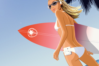 Surf Girl Background for Android, iPhone and iPad
