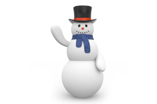 Free Snowman In Black Hat Picture for Android, iPhone and iPad