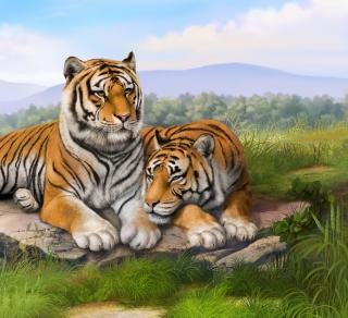Tigers Art - Obrázkek zdarma pro 208x208