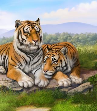 Tigers Art - Obrázkek zdarma pro Nokia Asha 309