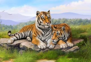 Tigers Art - Obrázkek zdarma pro Nokia Asha 205